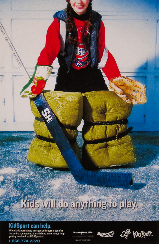 Hockey ad by Winnipeg commercial photographer