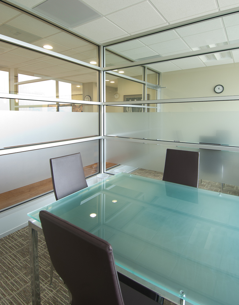 Glass boardroom by Winnipeg architectural photographer
