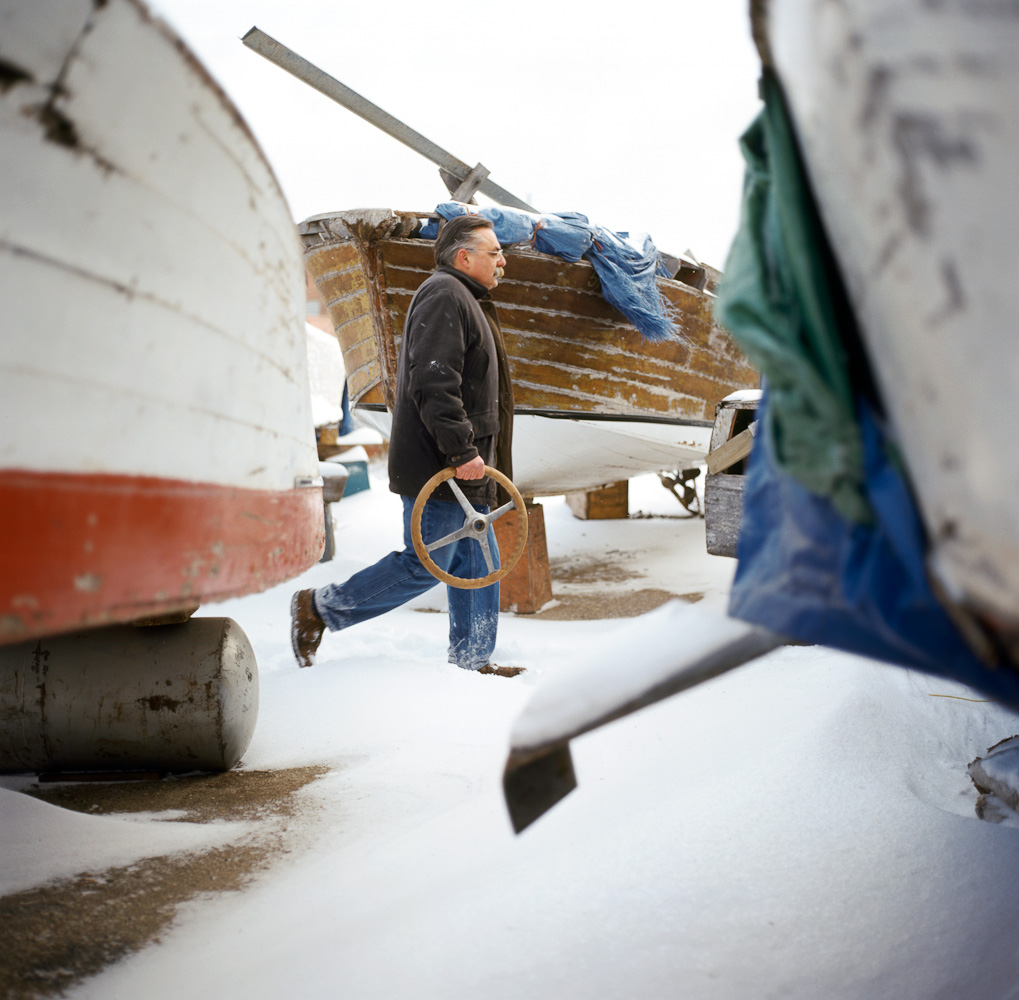 Boat storage  by Winnipeg editorial photographer