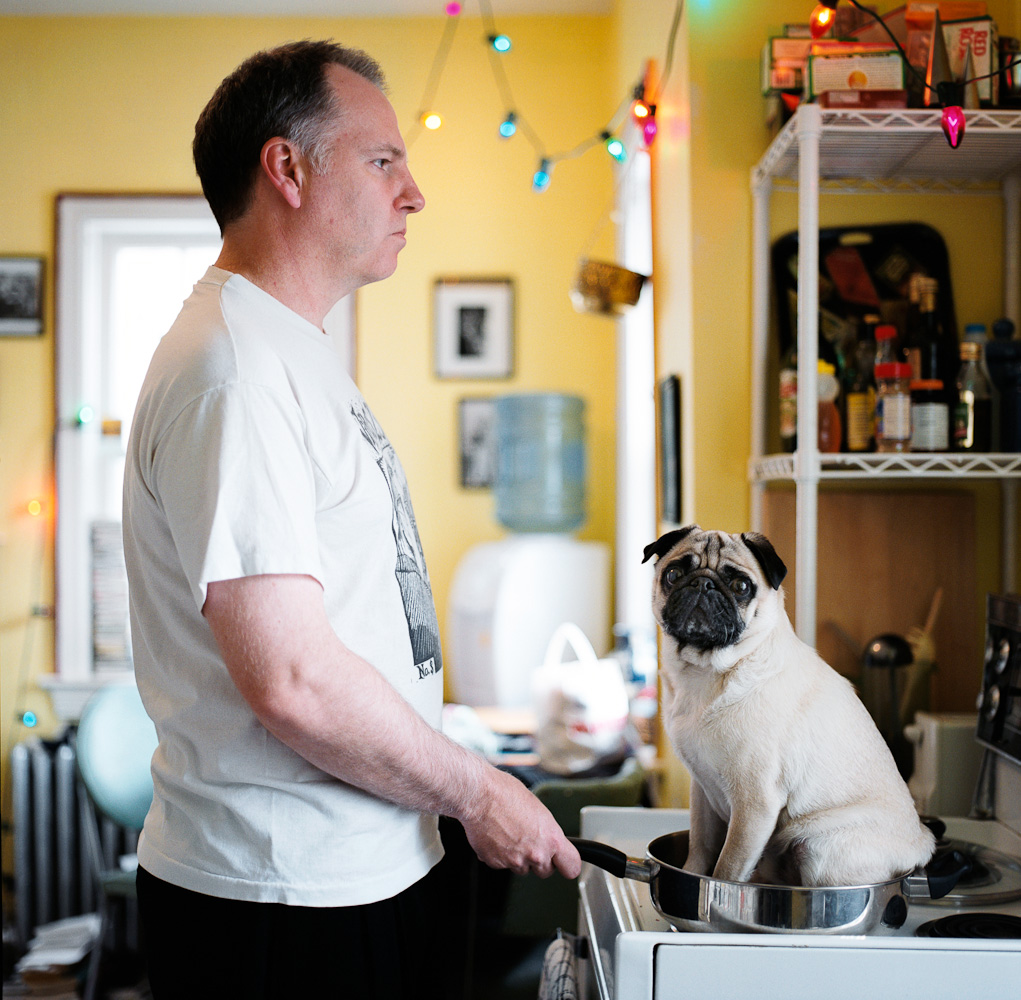 Guy Maddin with dog by winnipeg editorial photographer