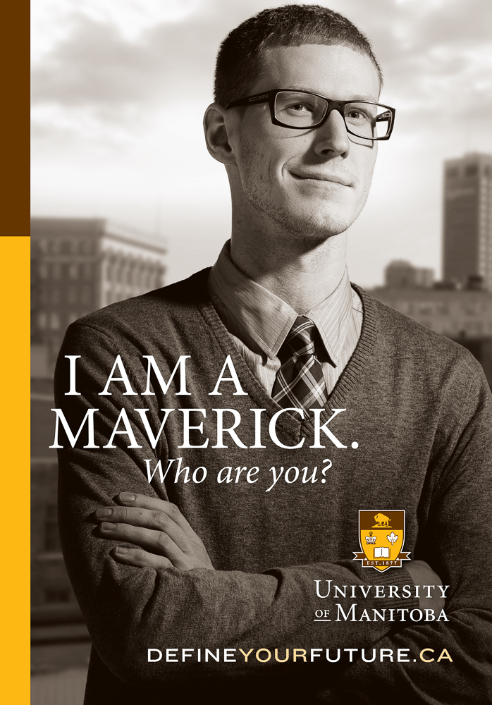 Maverick University ad by Winnipeg commercial photographer