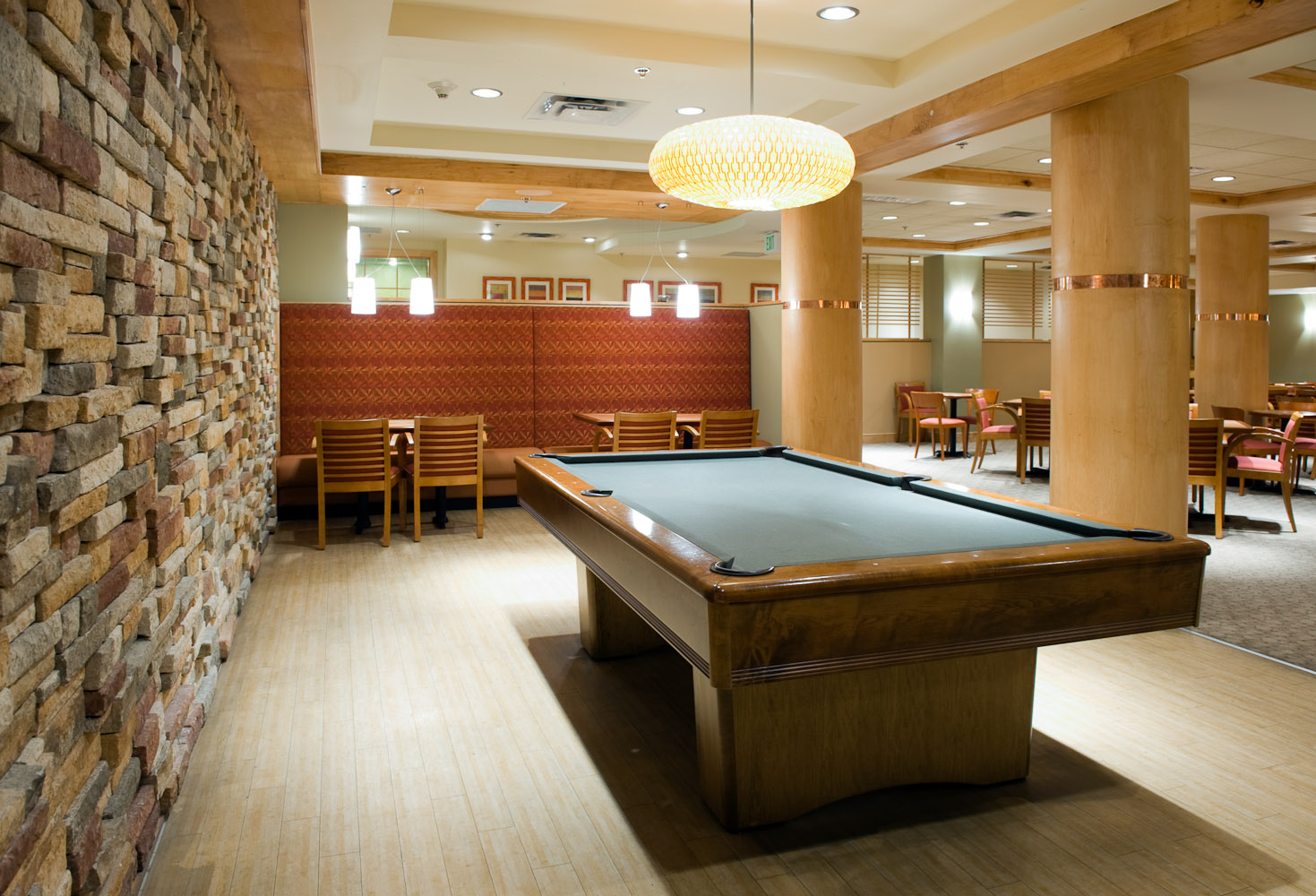 Pool hall by Winnipeg architectural photographer
